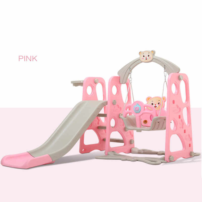 Brand New Plastic Kids Slides And Swing Child Home Playground Plastic Slides Indoor Eco-friendly Slider with Swing+MP3 Music