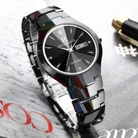 2018 New Arrival Men's Tungsten Watch Waterproof 3ATM Japanese Quartz Movement English Week Display Date Function Watch Men