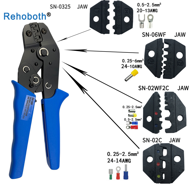 Crimping pliers jaw width 4mm pliers 190mm for TAB 2.8 4.8 6.3 C3 XH2.54 2510 plug insulation tube terminal tools