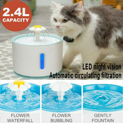 2.4L Automatic Dog Drinking Fountain Dispenser Pet Cat Water Feeder Bowl W/ LED