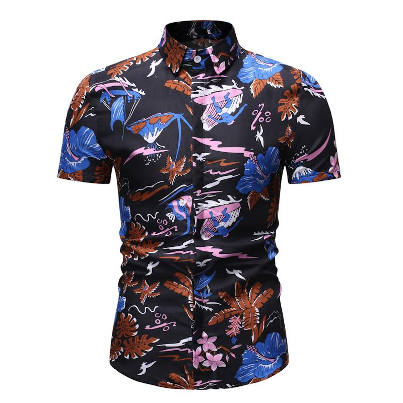 Summer Flower Blouse Men Hawaiian Hip Hop Men's Casual Floral Shirt Blue Red Casual Shirt For Boys New Ready Stock