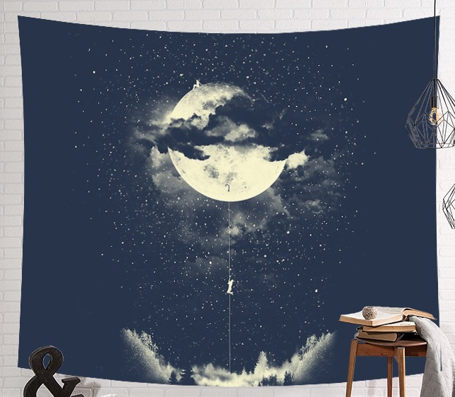 CAMMITEVER Astronaut Space Moon Earth Cloud Hanging Wall Tapestries Creative Home Decoration