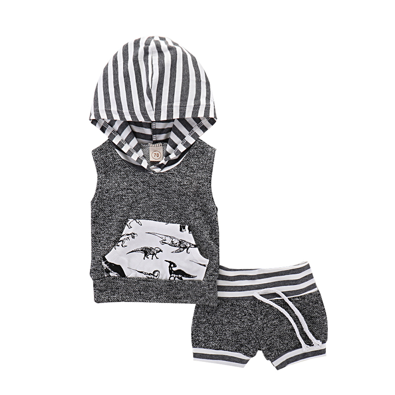 2018 Summer Newborn Set Baby Boy Clothes Baby Set 2pcs Pullover Hooded Tops T-shirt Shorts Sport Baby Suit Baby Boy Clothing ...