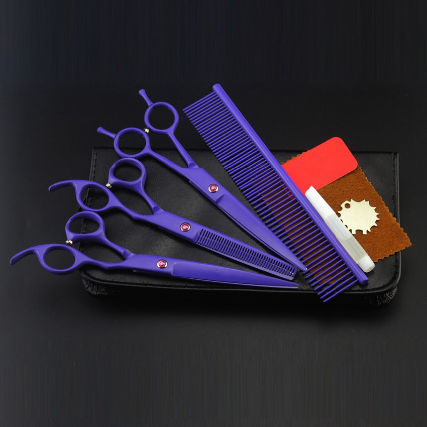 4 kit japan purple pet 7 inch shears cutting hair scissors dog grooming clipper pets thinning barber tools hairdressing scissors 4 kit japan yellow pet 7 inch shears cutting hair scissors dog grooming clipper pets thinning barber comb hairdressing scissors