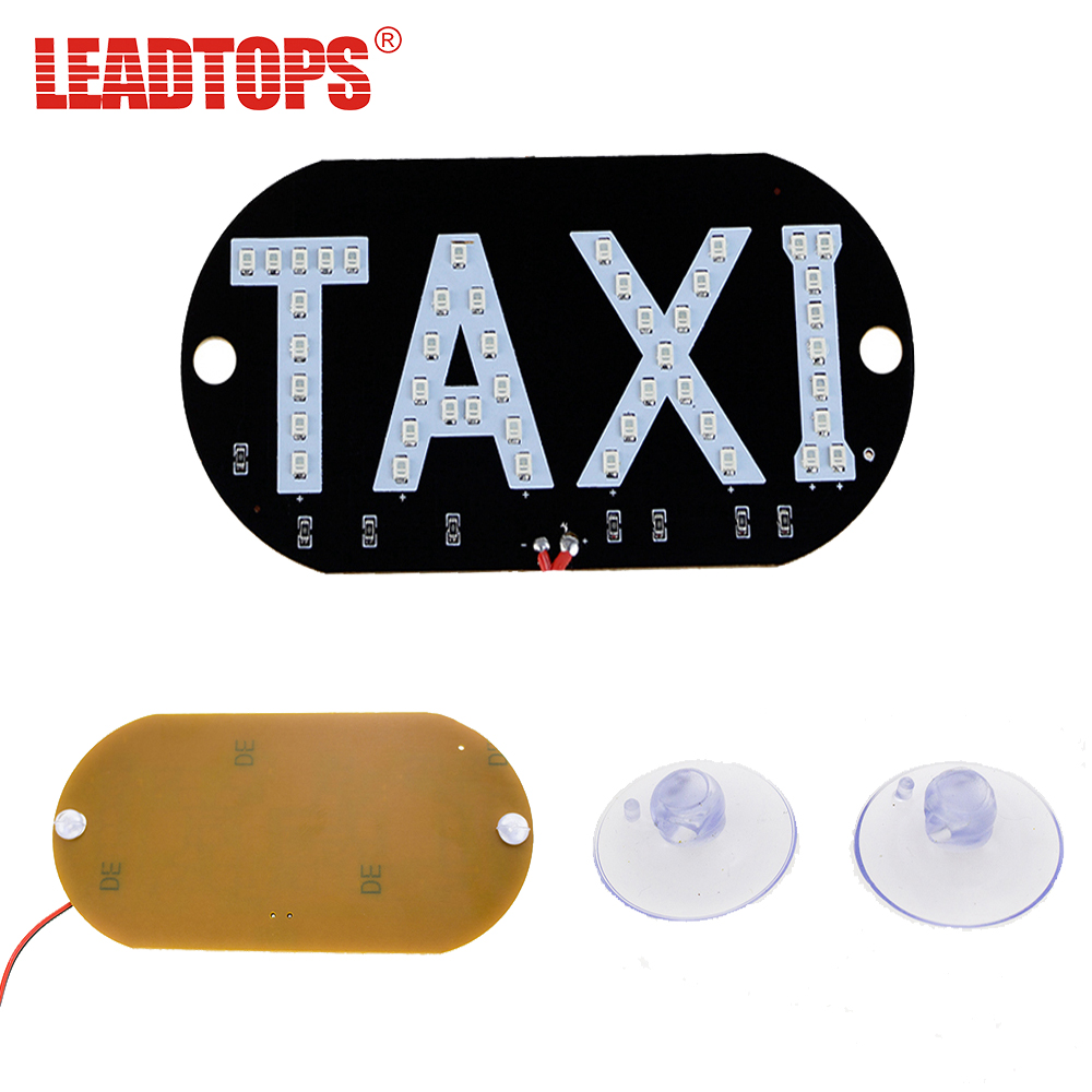 LEADTOPS 1Pcs Taxi Led Car Windscreen Cab indicator Lamp Sign Blue LED Windshield Taxi 1210 SMD 45 LED light Accessoires 12V AC