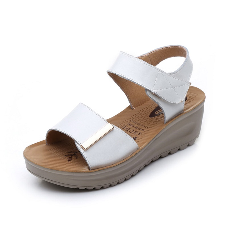 Ladies Platform Sandals White Nurse Shoes Sandals Split Leather Wedges Women Sandals Soft Outsole  Summer Shoes 35-40
