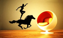 Cool Woman With Her Acrobatic Horse Silhouette Wall Mural Vinyl Wall Poster Creative Home Bedroom Decor Gallops Mural Q-33