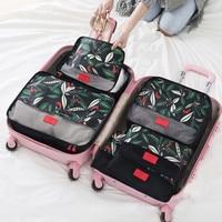 6 pçs/set Padrão Floral Conjunto Saco De Armazenamento De Bagagem de Viagem Recipiente Divisor De Armazenamento Organizador Mala de Viagem Roupa Bolsa Caso