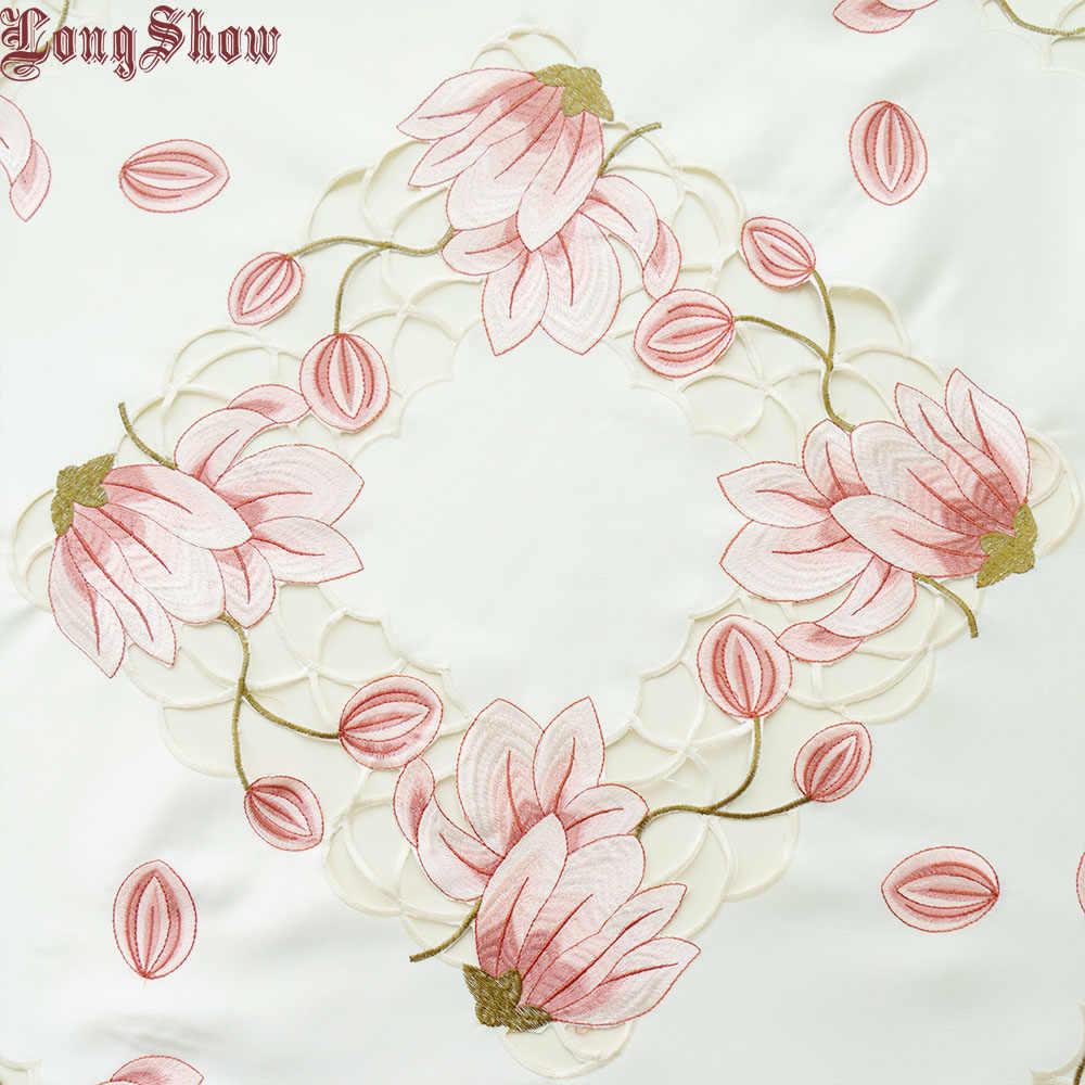 Элегантная скатерть 85x85 см розового и желтого цвета, роскошная Милая Праздничная атласная ткань, вышитый стол