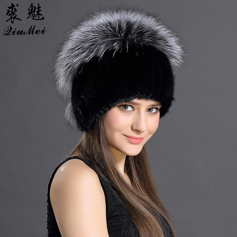 QiuMei Russian Woman Hat Mink Fur Thicken Patchwork 6 Colors Knitted With Pompon Fox Fur Top Warming Luxury Ladies Mink Fur Caps russian phrase book