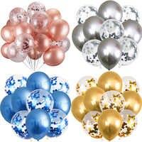 5/10 stücke Metallic Glanz Luftballons Gold Konfetti Latex Ballons Glücklich Geburtstag Party Dekore Kinder Erwachsene Helium Globos Party Ballon