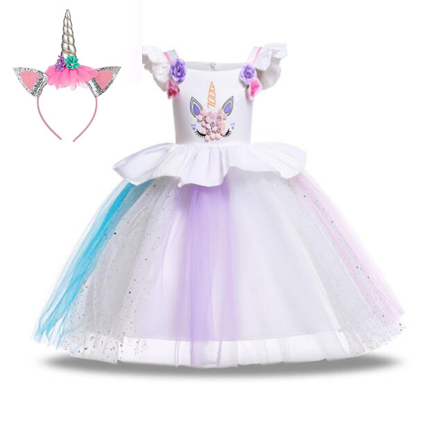 Anna Flower Girls Unicorn Dress Pastel Rainbow Elsa Princess Birthday Party Children Costume