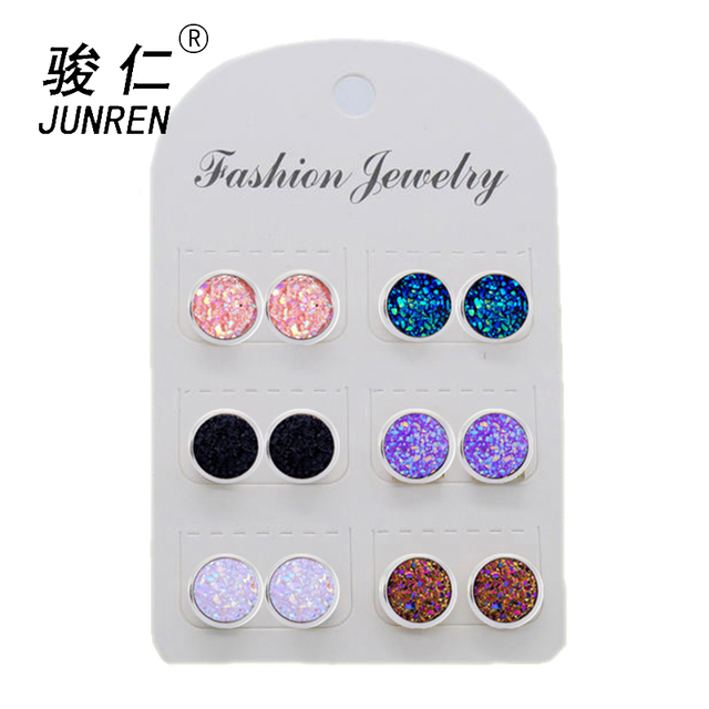 Quick sell 6 Pair/pack Simple 12mm Stainless steel Shiny Austrian Crystal Round Brincos Ear Studs Earrings For Girls Women