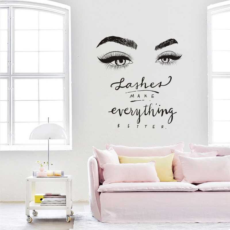 28057bad6c3 Detail Feedback Questions about Eyelashes Eye Wall Decal Beauty Salon Decor  Lashes Make Everything Better Quote Wall Mural Vinyl Eyelash Eyebrow  Stickers ...