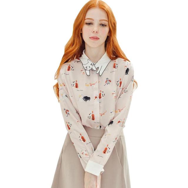 Nova Primavera Outono Elegante Impressão blusa mulheres gato manga longa Turn-down Collar Bonito Camisas Tops casuais