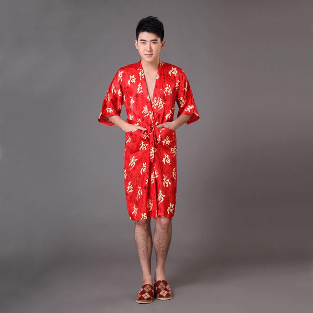 Venda Hot Red Verão Rayon Roupão de Banho vestido De Roupão de Seda dos homens do Estilo Chinês Sleepwear Quimono Com Cinto Tamanho S M L XL XXL XXXL MP019