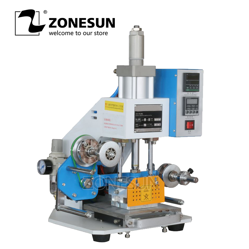 ZONESUN ZY 819B Hot Stamping Machine Hot Foil Pneumatic Stamping Press LOGO Printer for Leather Paper Customized Printable Area