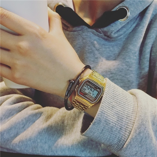 Fashion Women Female Men  Quartz Watch Waterproof LED Digital Business Watches Gold Sport Wristwatch Thanksgiving Christmas Gift