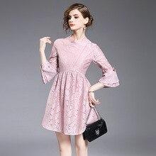 Настоящие vestidos mujer новые модные кружевные трапециевидные однотонные три четверти без колен с расклешенными рукавами женское платье vestido одежда