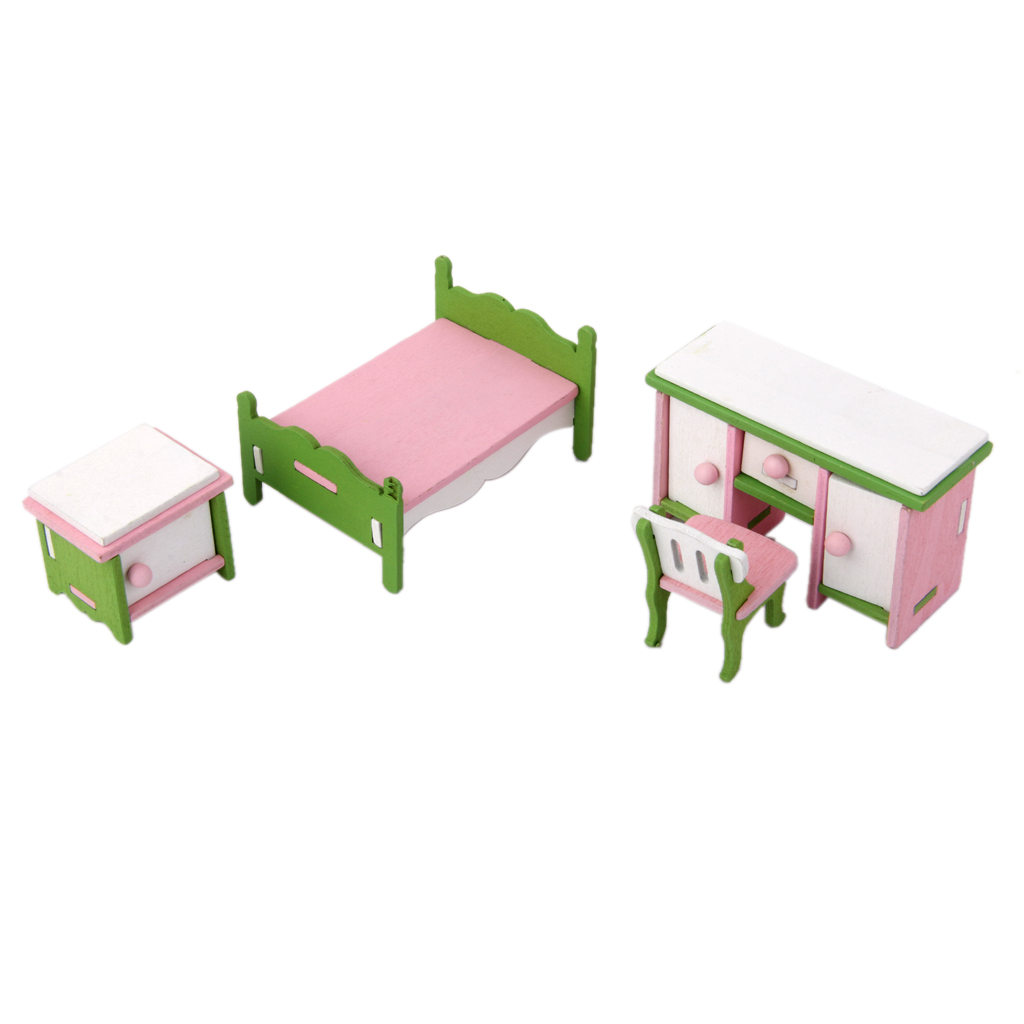 Doll Furniture For Sale Part - 38: Hot Sale Wood Dollhouse Miniature Furniture Wooden Toy Kids Bedroom Set  Kits Classic Toys Doll House