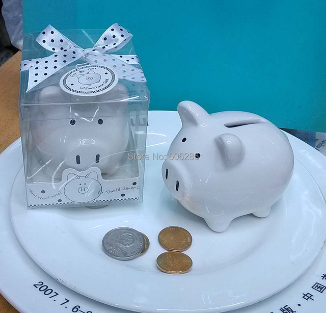 30pcs/lot Christening Baptism Gifts Ceramic Mini Piggy Bank Coin Box with Polka-Dot