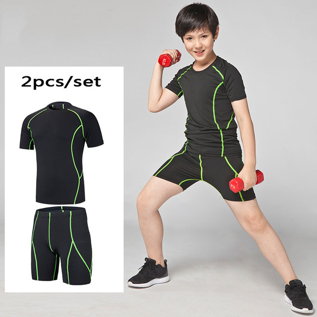 41aec02114 HOT Kids Compression Running Set shorts Shirts Youth Boys Survetement  Football Soccer Basketball Sport Skinny Tights Leggings