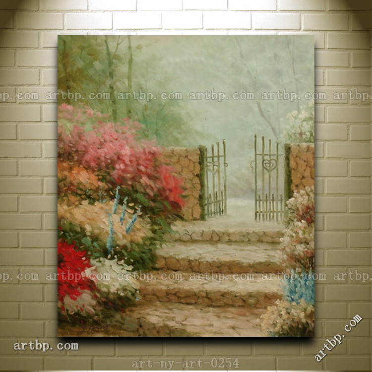 Oil Painting Of Garden Scene With Flowers By Stairs To
