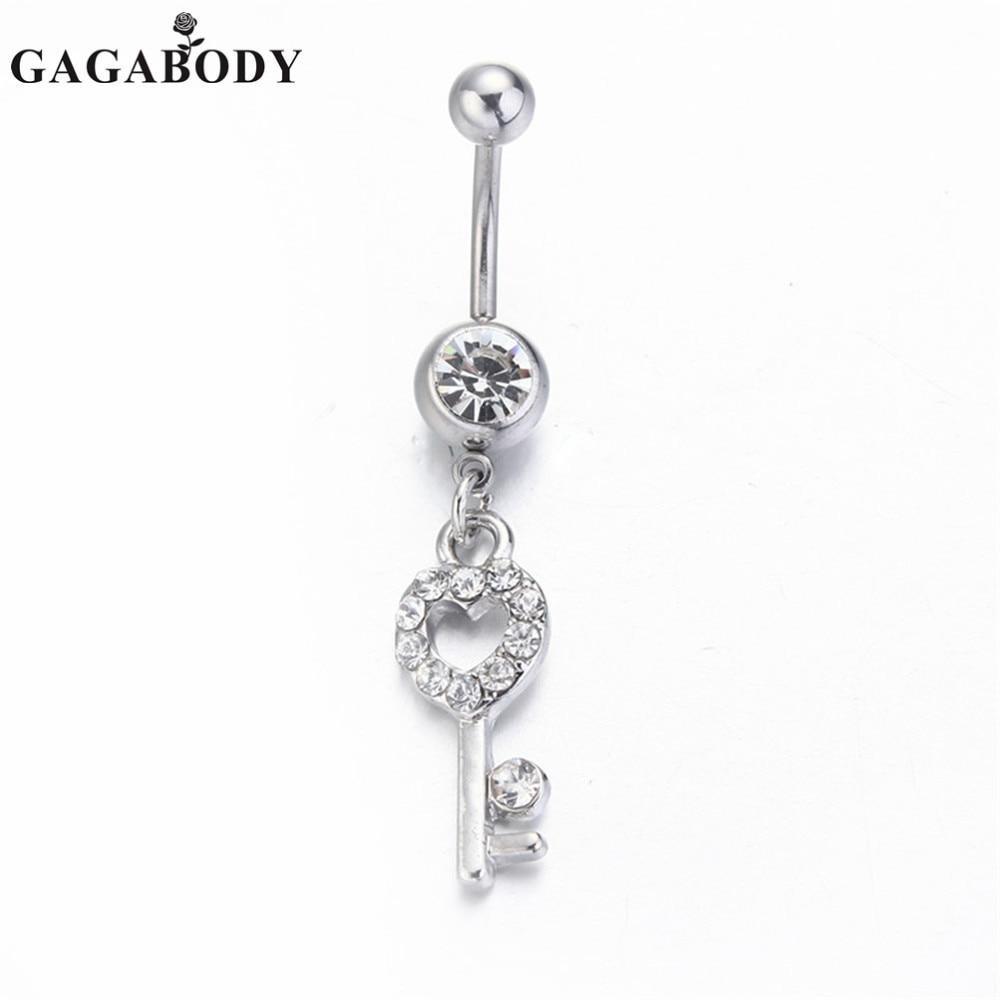2015 New Arrival 1PC Key Navel Rings Sexy Women Girls Body Jewelry Piercing Navel Jewelry Dangle Belly Rings