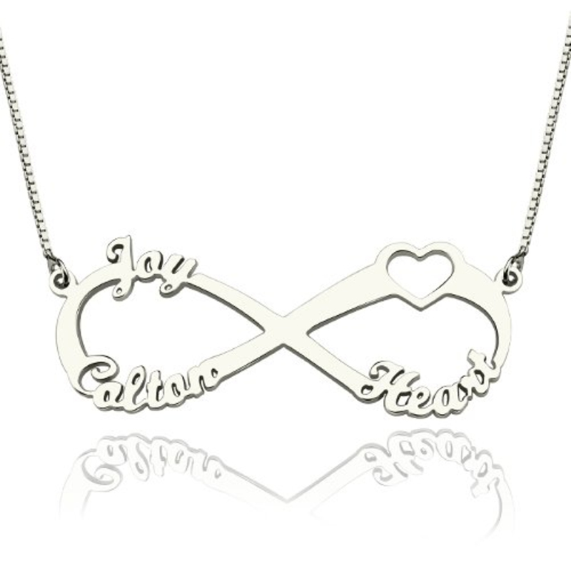 Customized Hebrew Runssian Family Names Necklace 925 Sterling Silver Pendant Infinity Heart Letter Necklaces Girlfriend's Gift letter j heart collarbone pendant necklace