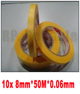 10x New 8mm*50M High Temperature Withstand Masking Tape Yellow 3M244 for Auto Coat PCB SMD Shielding