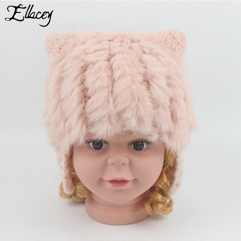 Ellacey 2017 Autumn Winter Cat Ears Hats Kids Real Rabbit Fur Beanies Child Fur Patchwork Knitted Cap Baby Girl Boy Warm Hats