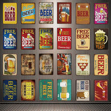 [ Kelly66 ] Free Tomorrow Ice Cold Beer Served Here Metal Sign Tin Poster Home Decor Bar Wall Art Painting 20*30 CM Size Dy72
