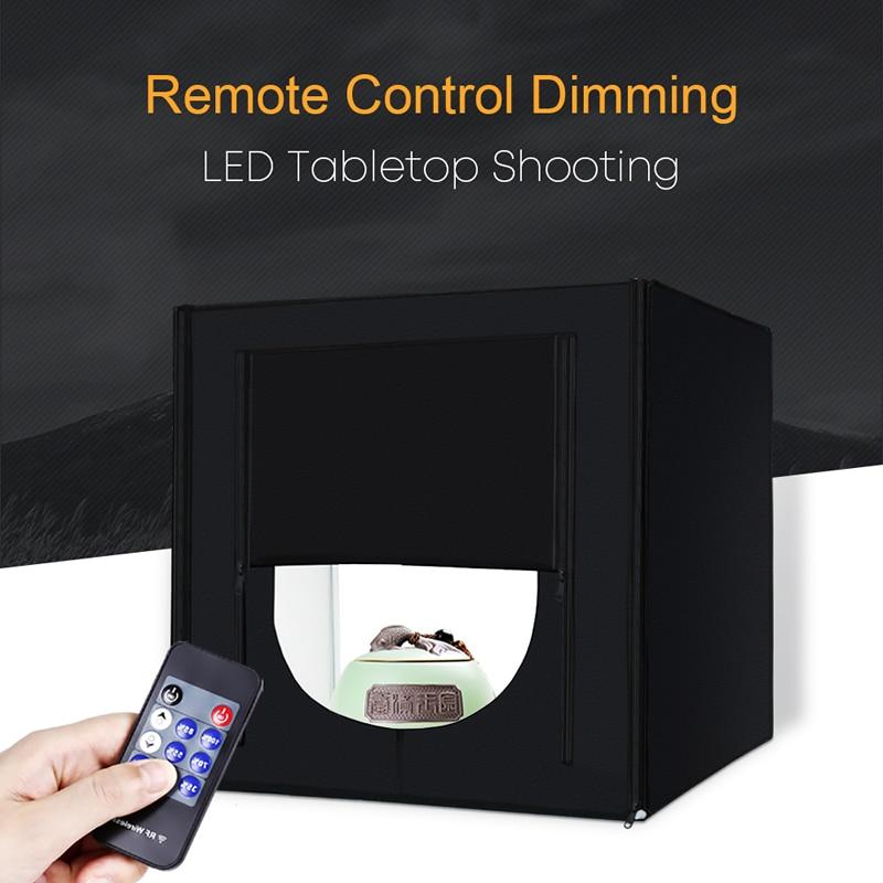 купить Mini Photo Studio Lightbox Tabletop Shooting Tent 50 cm Soft Box 132 LED Photography Light Portable Folding Studio Kit Upgrade недорого