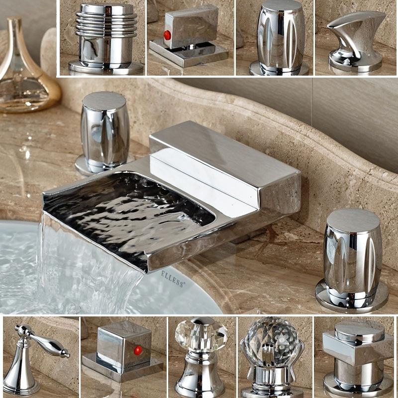 ФОТО Polished Chrome Widespread Tub Filler Deck Mount Dual Handles Bathroom Sink Tub Mixer Tap Basin Faucet