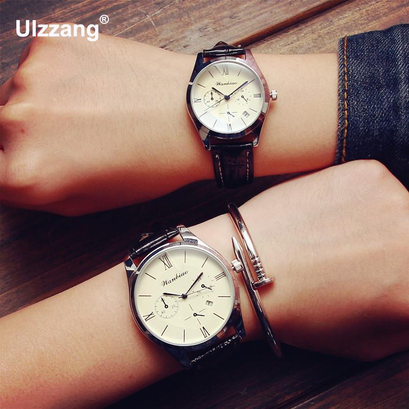 Classic Luxury Silver Shell Black Brown Leather Quartz Dress Business Watch Wristwatch for Men Women Female Male