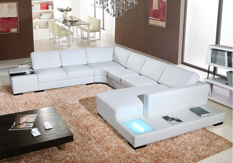 Modern White Living Room Furniture Part - 42: Modern Sofa Set Living Room Furniture With Leather Sofa Sectional U Shaped  Couch For Living Room