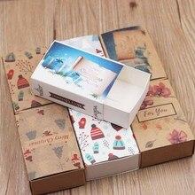 5pcs per lot multi design Merry christmas gifts package slide box vintage kraft Diy Handmade Thank you candy/wedding favors