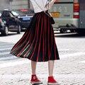 2017 Nova Chegada do Verão As Mulheres Saia de Tule Saia Longa de Cintura Alta Listrado Plus Size Moda Impresso Bohemian Drapeado Saias Femininas