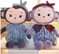 Mascot monkey doll plush toys large tie fabric annual monkey doll girl a gift