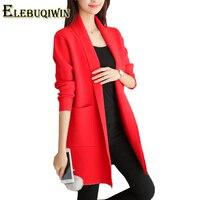 2018 Autumn Winter New Women Sweater Korean Medium Lengthe Wild Knit Cardigan Solid Color Slim Was