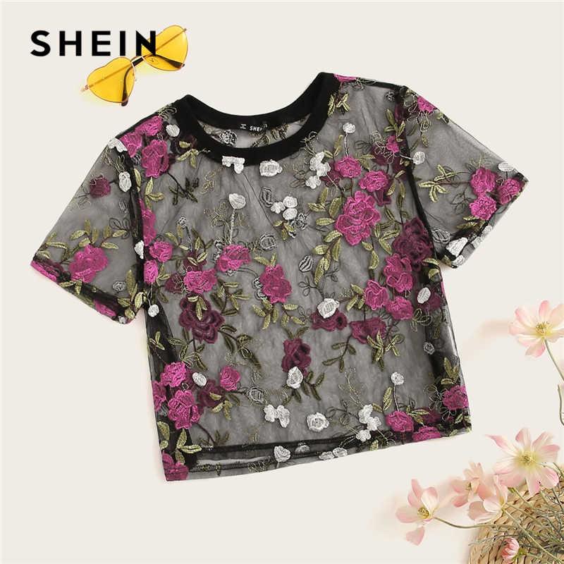 SHEIN Boho Multicolor Floral Stickerei Sheer Mesh Sexy Ernte Bluse Frauen Sommer Rundhals Kurzarm Elegante Top Blusen