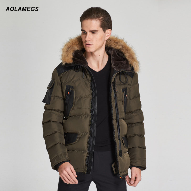 Aolamegs Winter Jacket Men Hooded Thicken Warm Coat Fashion Leather Patchwork Cotton Padded Jackets Windproof Parkas