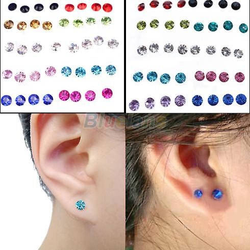 20 Pairs Women S 5mm Clear Multicolor Crystal Allergy Free Ear Studs Earrings 1frx In Stud From Jewelry Accessories On Aliexpress Alibaba