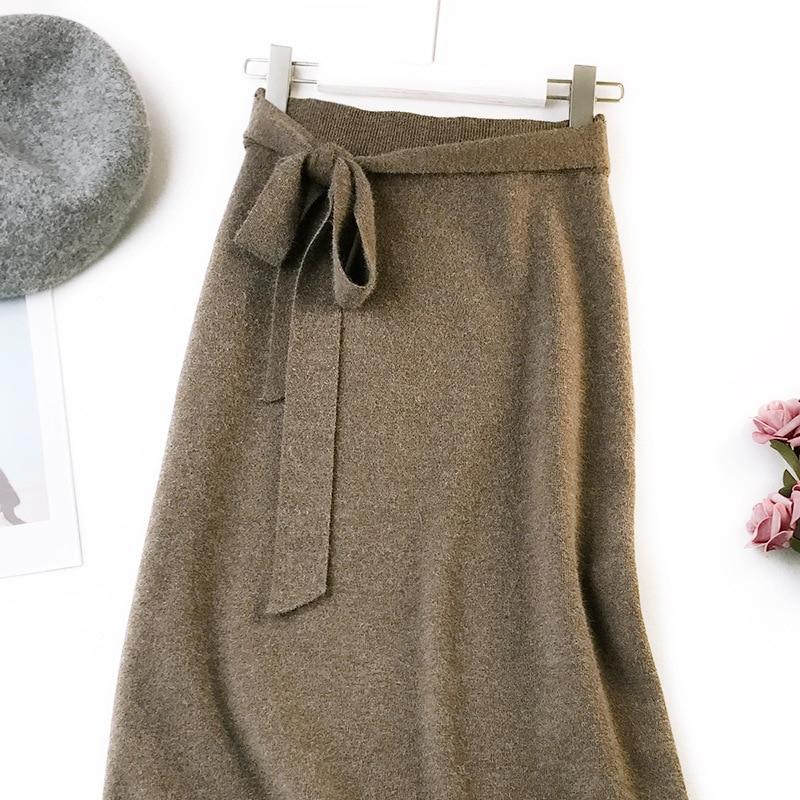 344 water velvet knit skirt women 2018 autumn and winter new women's long section high waist bag hip split A skirts 14