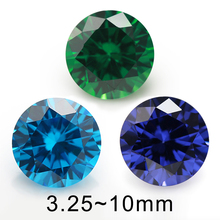 Size  4mm 5mm 6mm (3.5~10mm)  Blue Color AAAAA Round Brilliant Synthetic Cubic Zirconia Stone Loose