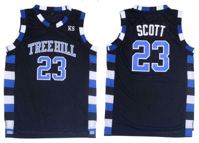 Nathan Scott 23 One Tree Hill Ravens Basketball Jersey Black-in ... fb48206a1