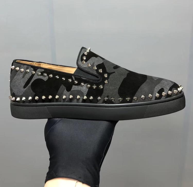 Sneakers Mocassins Taille Top En Cuir De Mode Hommes Low 46 Camouflage Piste Clouté Designer Hip Véritable Rivers Hop Chaussures WEY2eHbD9I