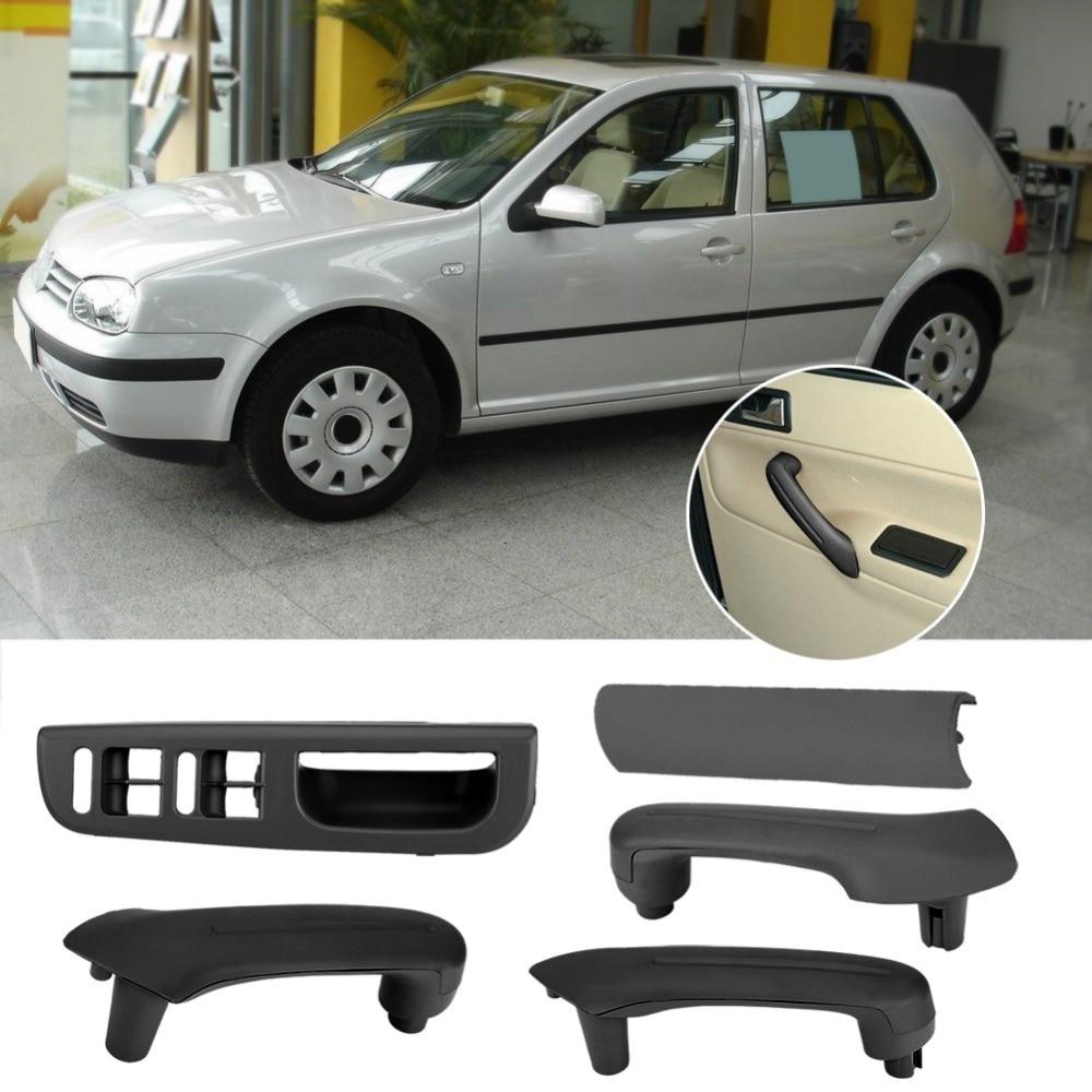 Window Switch Panel Bezel + Interior Door Grab Handle For Jetta Golf MK4 1999 2000 2001 2002 2003 2004 Black