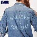 Womens Cambray Camisa denim Top Camisas y Blusas de Manga Larga de Algodón Botón de la Camisa Blusa de Las Señoras Camisetas Femininas