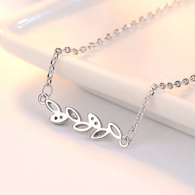 100 925 sterling silver fashion shiny crystal Olive branch leaves ladies chains necklaces jewelry wholesale drop shipping cheap in Chain Necklaces from Jewelry Accessories